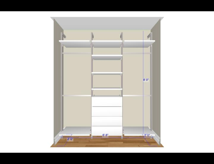 Reach In Closet Featuring RELAX Storage Configuration White With Dimensions Displayed